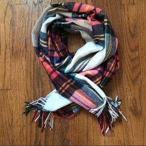 J.Crew Orange plaid wool blend scarf